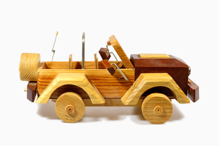 handcraft: Old handcraft wooden toy car Stock Photo