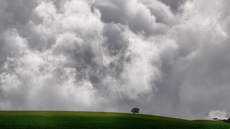 enhanced: Beautiful vast Alentejo plain in a spring cloudy day (enhanced sky) Stock Photo