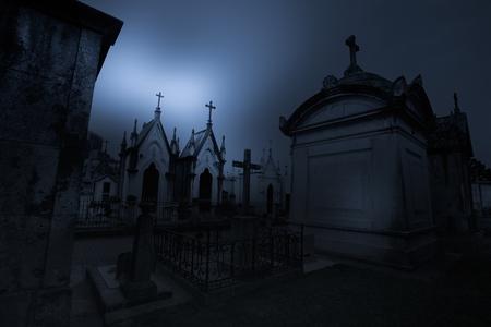 hallowmas: Dark and mysterious old European cemetery Stock Photo