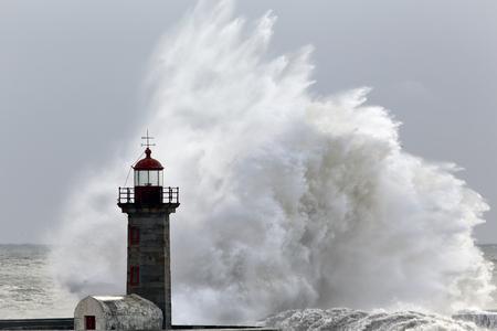 granola: Big wave over old lighthouse