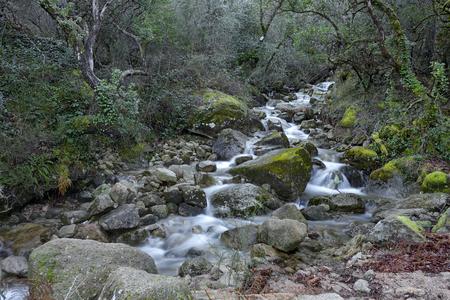 Cagademos creek during winter. National park of Peneda Geres, north of Portugal. Long exposure.
