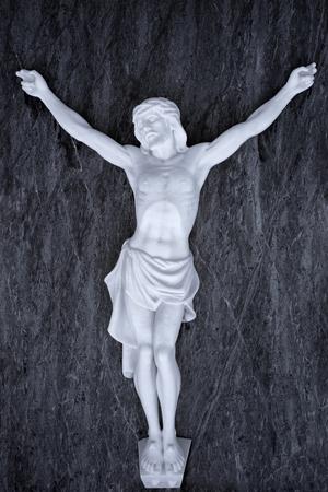 Black and white marble crucifix Stock Photo