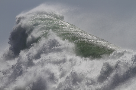 Huge detailed stormy wave in a sunny day. North of Portugal.
