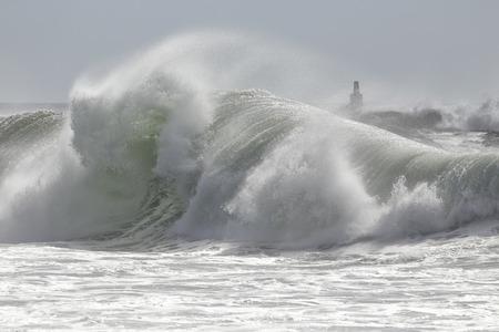 Big breaking wave. Northern portuguese coast.