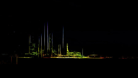 Stylized big oil refinery by night Stock Photo