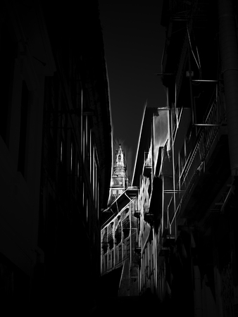 Narrow street of Oporto with Clerigos tower on the foreground. Digital work over a photo of mine. Stock Photo