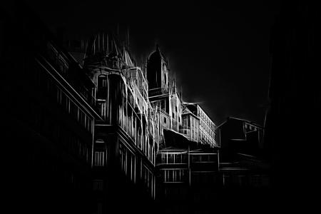 Street of Oporto. Digital work over a photo of mine.