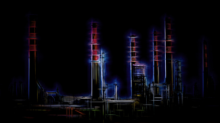 Stylized big oil refinery. Digital work over a photo of mine.