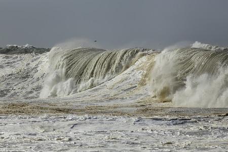 Detailed big stormy sea wave. Northern portuguese coast.