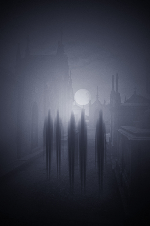 Ghosts passing on the main street of an old cemetery in a foggy full moon night - added some digital grain