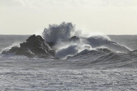 Onde del mare tempestoso che si infrangono sulle scogliere dalla costa portoghese settentrionale. Retroilluminazione morbida. Archivio Fotografico
