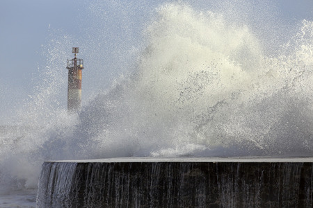 Big wave splash closeup. Ave river mouth, Vila do Conde, north of Portugal.