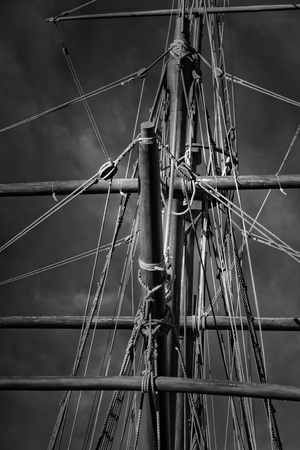 Crows nest and rigging from a Portuguese caravel replica from the time of discovery. Vila do Conde, north of Portugal. Used infrared filter.