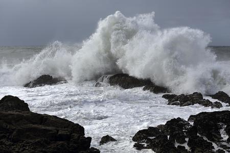 Waves crashing over rocks. Northern portuguese coast.