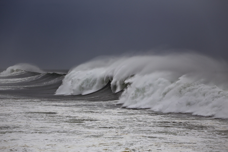 Waves with spray. Northern portuguese coat.