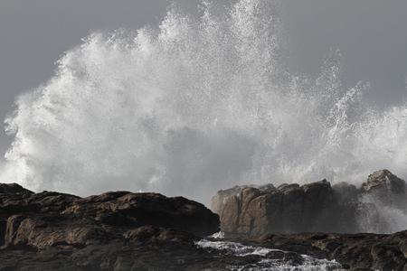 Sunny big splash from waves crashing against sea rocks. Imagens