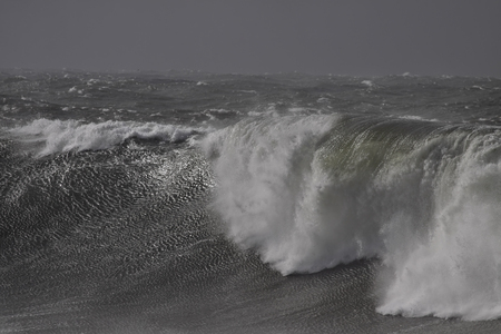 Stormy breaking waves. Northern Portuguese coast.