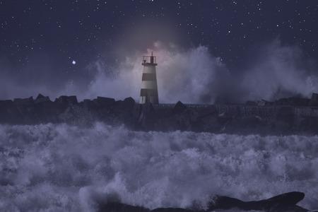 Molo w ujściu rzeki i latarnia morska w wzburzonym morzu w nocy.