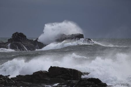 Storm in the portuguese coast. End of the day light before heavy rain.