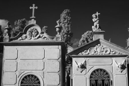 Black and white old european cemetery