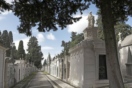 Old European cemetery street (Prazeres, Lisbon, Portugal)