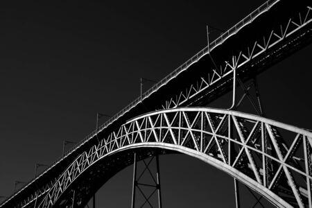 Old iron bridge over Douro river, Porto. Used infrared filter.