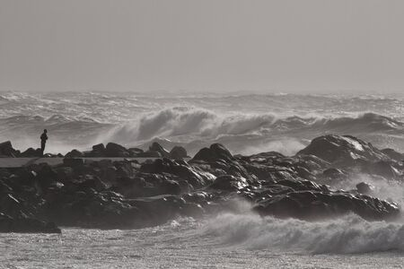 Rough sea. Northern portuguese rocky coast.