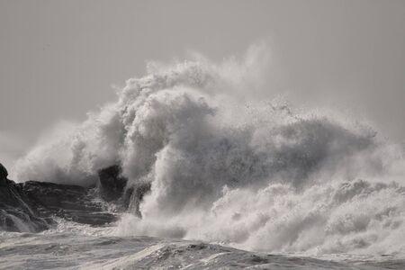 Big wave splash. Northern portuguese rocky coast. Reklamní fotografie