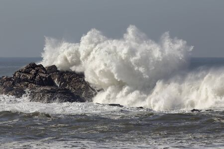 Big sea wave splash. Northern portuguese rocky coast.