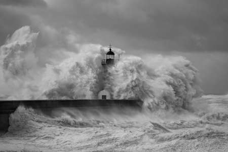 Entry of Douro River harbor on the first big storm of the year 2013 (on January 19); Wind gusts reach 140/150 Kms. (Version 2)