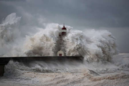 Entry of Douro River harbor on the first big storm of the year