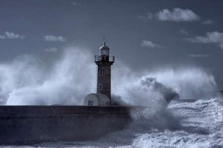 Maritime storm at the mouth of the Douro river. Used infrared filter.