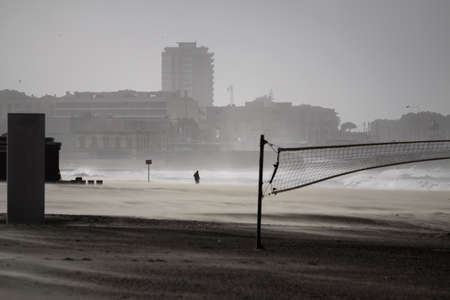 One of the Oporto beaches during a stormy winter day