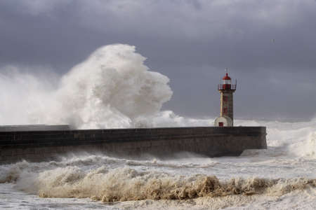 Sea storm at the mouth of Douro river mouth, Porto, Portugal