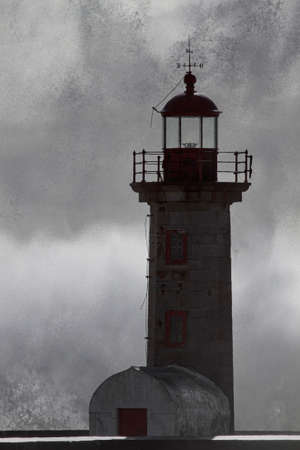 Dark storm at the Douro river mouth old lighthouse with wave splash and spray