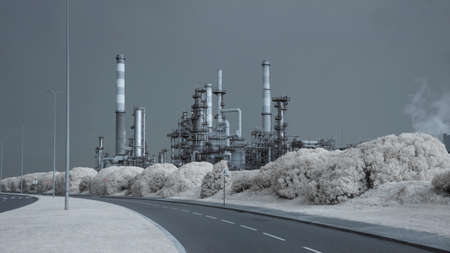 Part of a big oil refinery by the road. Used infrared filter. Toned blue