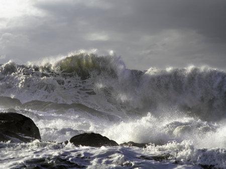 Dark winter seascape seeing big breaking stormy wave