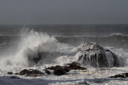 Storm on the northern portuguese rocky coast.