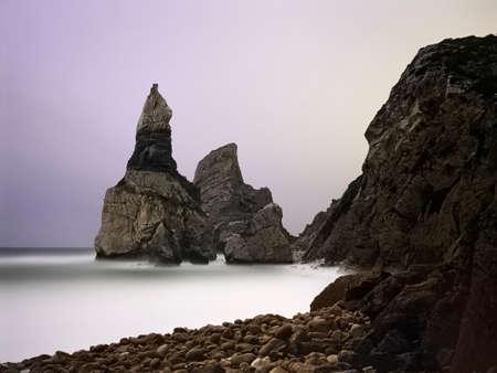 Ursa beach at night. Long exposure. Sintra, Cascais, Portugal. Amalog: 35mm film.