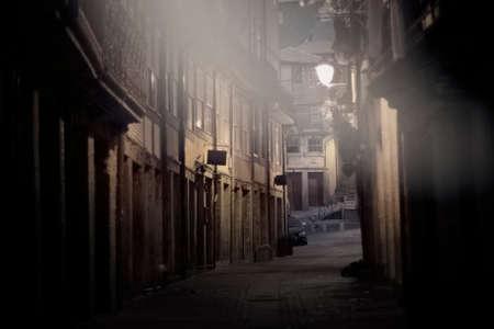 Old Oporto narrow street at dawn.