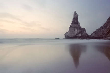 Praia da Ursa at dusk. Long exposure. Sintra, Cascais, Portugal. Amalog: 35mm film.