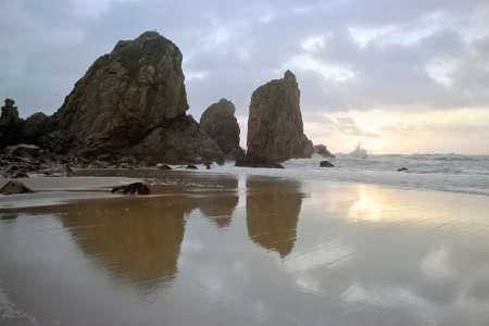 Ursa beach at sunset. Analog: 35mm film. Archivio Fotografico