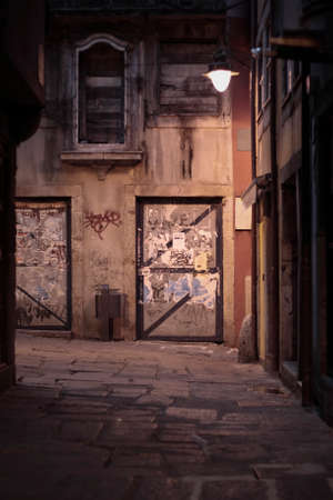 Old grunge alley from Oporto, Portugal, by night Archivio Fotografico