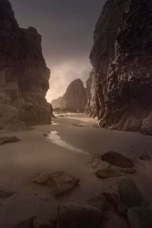 Ursa beach at sunset during low tide. Analog: 35mm film. Archivio Fotografico