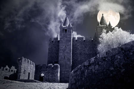 Mysterious castle in a crrepy full moon night. Foto de archivo