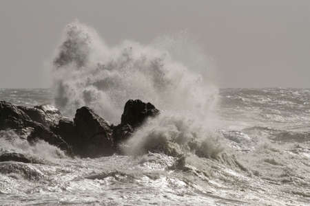 Big wave splash in a rough sea day