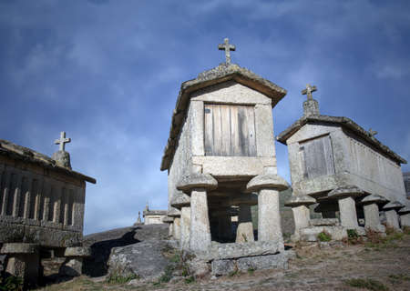 Traditional stone granaries from the north of Portugal.