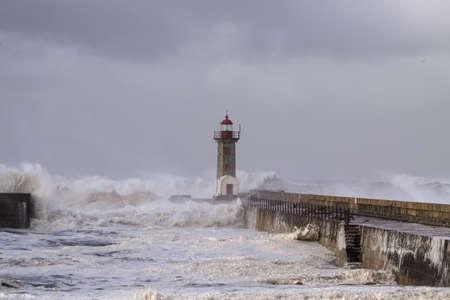 Storm at the Douro river mouth, Porto, Portugal Archivio Fotografico