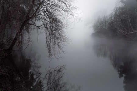 Foggy river in a full moon night