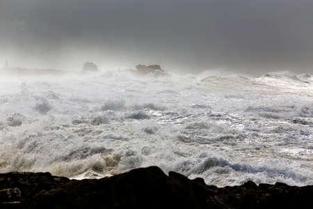 Rough if. Northern Portuguese coast during storm. Archivio Fotografico